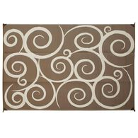 Reversible Swirl Design Patio Mat, 6' x 9', Brown/Cream