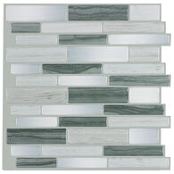 "Peel-and-Stick Mosaic Wall Tile, 10"" x 10"", Gray Mist"