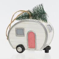 Vintage Camper Christmas Ornament, White w/Pink Door