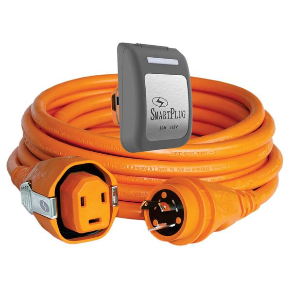30 Amp Dual Configuration 50' Cordset with Twist-Type Connection and Non-Metallic Inlet, Orange/Gray
