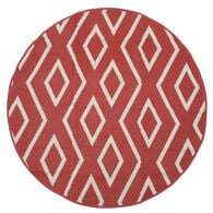 Reversible 7' Round Tribal Design Patio Mat, wine/tan