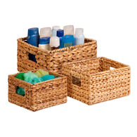 Honey Can Do 3-Piece Hyacinth Nested Storage Baskets, Natural