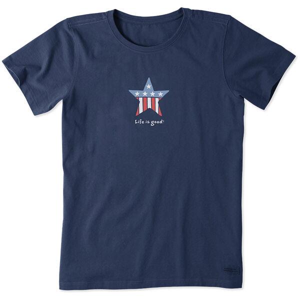 Life Is Good Women's Patriotic Star Vintage Crusher Short Sleeve Tee