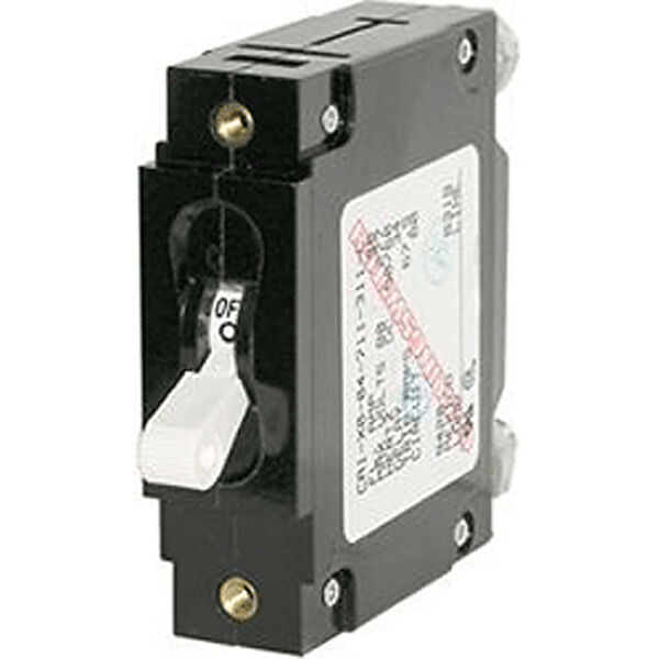 Blue Sea Circuit Breaker C-Series Toggle Switch, Single Pole, 50A, White