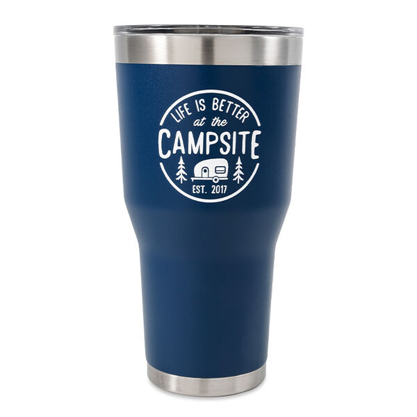 """Camco """"Life is Better at the Campsite"""" Tumbler, 30 oz., Navy"""