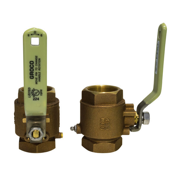 "Groco IBV Series Bronze Full-Flow In-Line Ball Valve, 1/2"" Pipe"