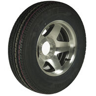 Trailer King II ST225/75 R 15 Radial Trailer Tire, 6-Lug Aluminum Black Star Rim