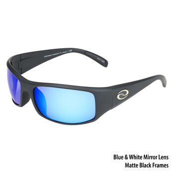 fc1db7b20b Strike King S11 Okeechobee Sunglasses - Matte Black Frame White-Blue Mirror  Lens