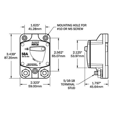 Blue Sea 187-Series Thermal Circuit Breaker, Surface-Mount, 50A