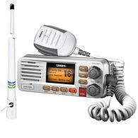 Uniden Solara D UM380 VHF Radio Package, White w/Shakespeare 5206-N Antenna