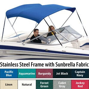 Shademate Sunbrella Stainless 3-Bow Bimini Top 5'L x 32''H 61''-66'' Wide