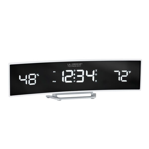 La Crosse Curved LED Alarm Clock with Mirrored Lens