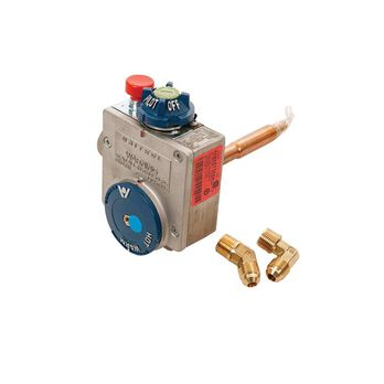 "Valve/T-Stat, LP Gas, Kit, Robert Shaw, w/ 3/8"" Inlet & Outlet, Pilot Series, Water Heater"