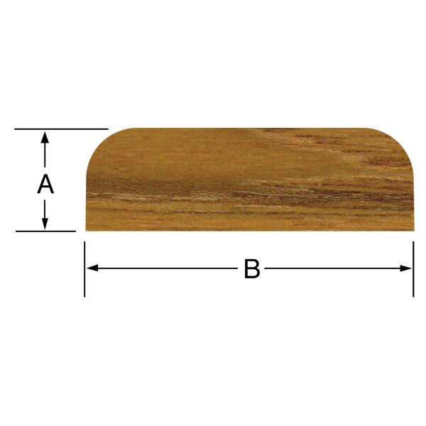 """Whitecap Teak Batten, 5'L x 1-7/16""""W (B) x 3/8"""" thick (A)"""