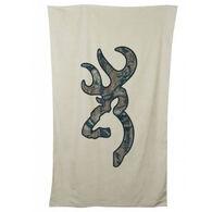 Browning Buckmark Beach Towel, Tan with Camo Logo