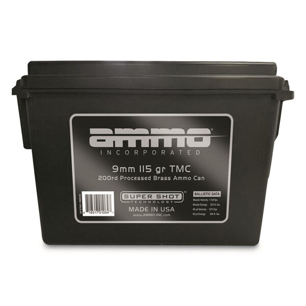 Ammo Inc. 9mm Luger Processed Brass Ammo 200-Round Bulk Can, 115-gr., TMC