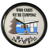 """""""Who Care, We're Camping"""" Wall Clock"""