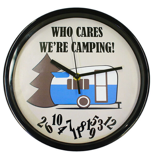 """""""Who Cares, We're Camping"""" Wall Clock"""