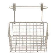 Over Cabinet Towel Bar & Basket, Satin Nickel