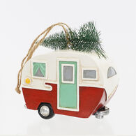 Vintage Camper Christmas Ornament, Red/White