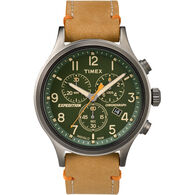Timex Expedition® Scout™ Chronograph Leather Watch, Green Dial