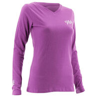HUK Women's Logo Long-Sleeve V-Neck Tee