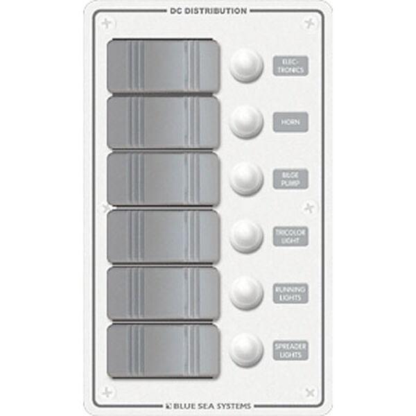 Blue Sea Water-Resistant Contura Circuit Breaker Panel, Model 8273