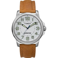 Timex Men's Expedition® Metal Field Watch, White Dial/Brown Strap