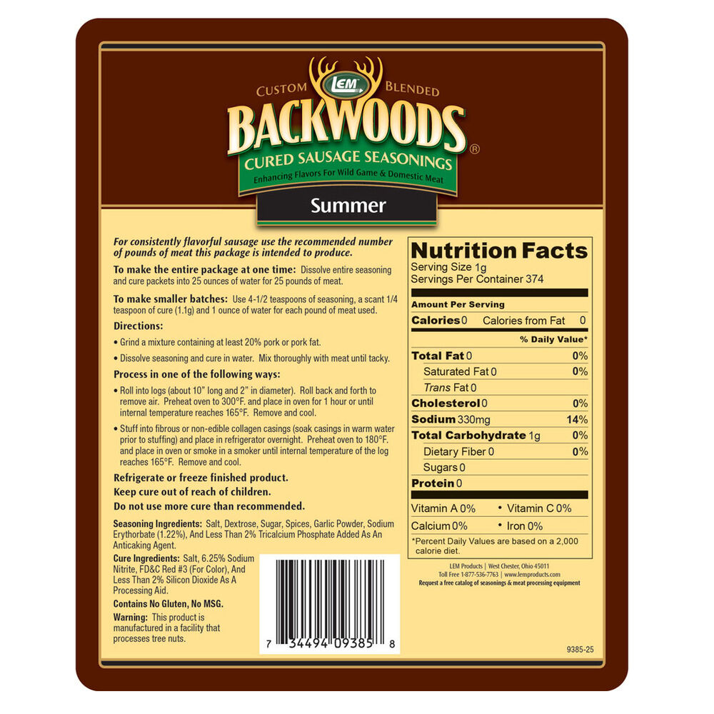LEM Backwoods Summer Sausage Cured Sausage Seasoning, 25 lbs