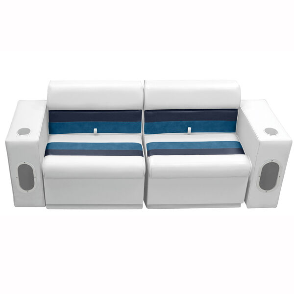 Deluxe Pontoon Furniture w/Toe Kick Base - Front Group 5 Package, White/Navy/Blu