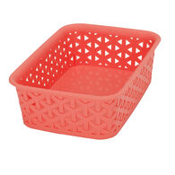 "Plastic Weave Rectangular Bin, 8""L x 6""W x 2.5""H, Coral"