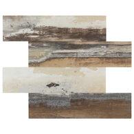 "Peel-and-Stick Mosaic Wall Tile, 12"" x 15"", Matte PVC Random Wood Look"