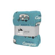 "Happy Camper Oversized Throw, 50"" x 70"", Blue"