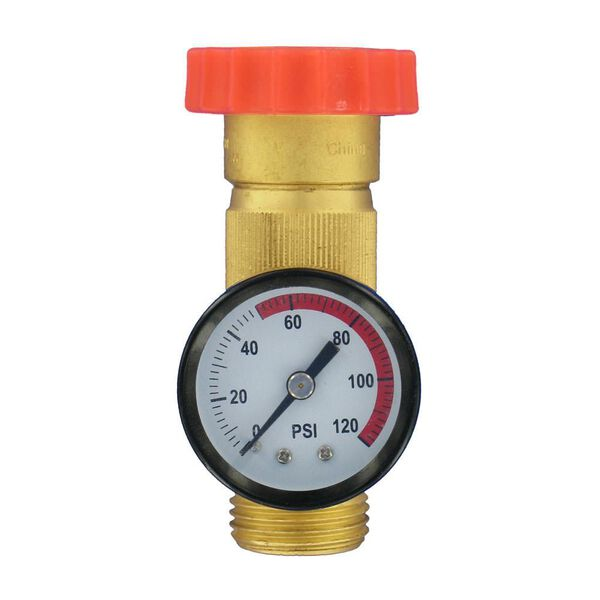 Valterra Lead-Free Brass In-Line Water Regulator and Pressure Gauge Combo