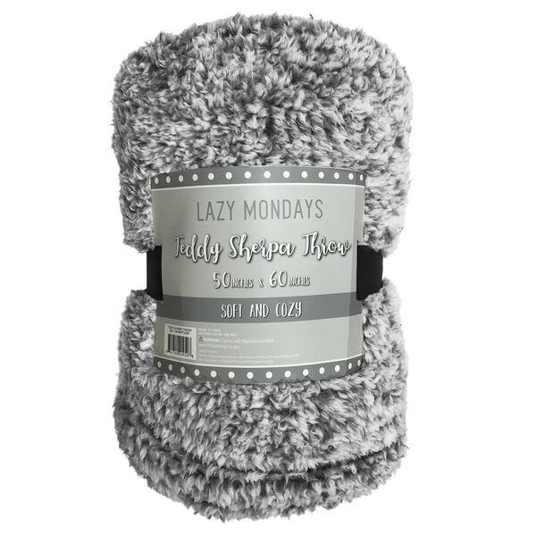Lazy Mondays Cozy Teddy Throw – Charcoal Grey