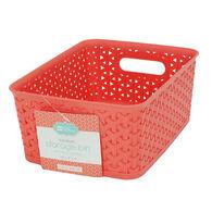 "Plastic Weave Rectangular Bin, 10""L x 8""W x 4""H, Coral"