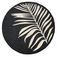 Reversible 7' Round Leaf Design Patio Mat, black/tan