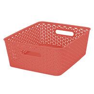 "Plastic Weave Rectangular Bin, 13.75""L x 11""W x 5""H, Coral"