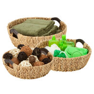 Honey Can Do 3-Piece Round Wood Storage Baskets, Natural