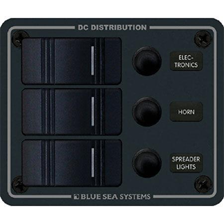 "/""NEW/"" BLUE SEA 8374 Systems Dc Waterproof Circuit Breaker Panel 3 Position"