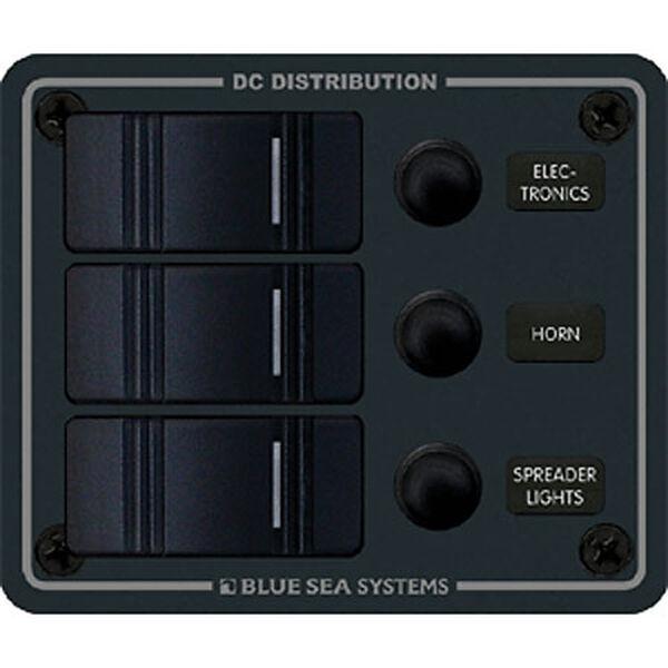 Blue Sea Water-Resistant Contura Circuit Breaker Panel, Model 8374