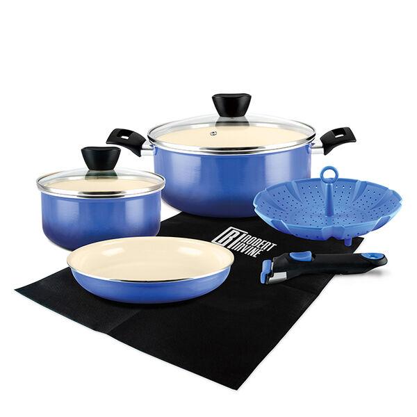 Robert Irvine 8-Piece Cookware Set, Blue