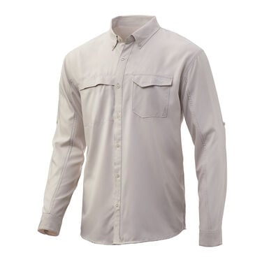 HUK Men's Tide Point Woven Solid Long-Sleeve Shirt