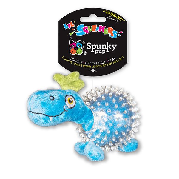 Spunky Pup Lil' Squeakers Dino in Clear Spiky Ball