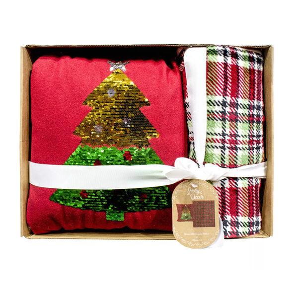 Holly Decor Pillow and Throw Gift Set, Christmas Tree