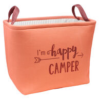 Happy Camper Rectangular Storage Bin, Coral