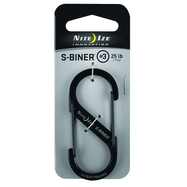 Nite Ize S-Biner Stainless Steel Dual Carabiner, Size #3, Black