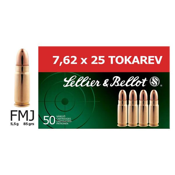 Sellier & Bellot FMJ Ammunition, 7.62x25mm Tokarev
