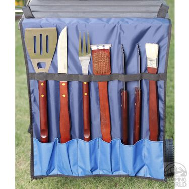 No Tipper Topper Kit with Matching BBQ Utensil Bag, Blue