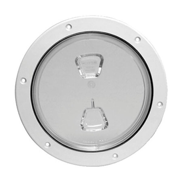 """Screw-Out 6"""" White Deck Plate With Clear Center"""